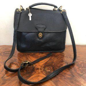 Jack Georges station bag, black leather satchel